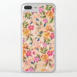 Golden Flitch (Digital Vintage Retro / Glitched Pastel Flowers - Floral design pattern) Clear iPhone Case