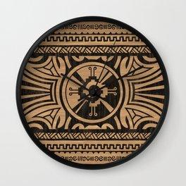 Hunab Ku Mayan symbol Wooden Texture Wall Clock