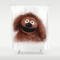 muppets Shower Curtains featuring Rowlf, The Muppets by KitschyPopShop