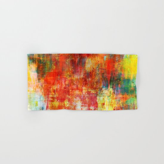 AUTUMN HARVEST - Fall Colorful Abstract Textural Painting Warm Red Orange Yellow Green Thanksgiving Hand & Bath Towel
