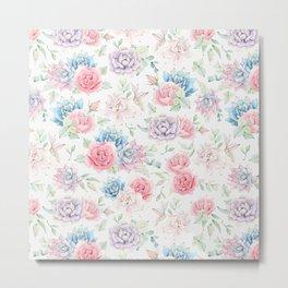 Blush pink teal watercolor hand painted cactus flowers Metal Print