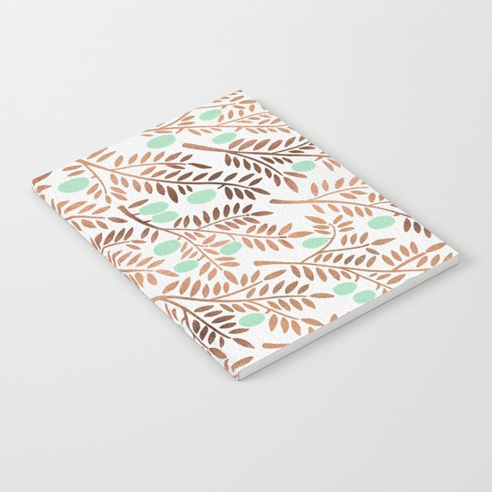 Olive Branches – Rose Gold & Mint Notebook
