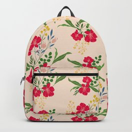 Red Tropical Flower Pattern Backpack