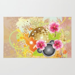 Golden disco ball with pink hibiscus Rug