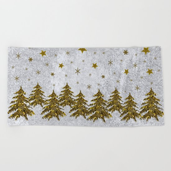 Sparkly Christmas tree, stars, moons on abstract paper Beach Towel