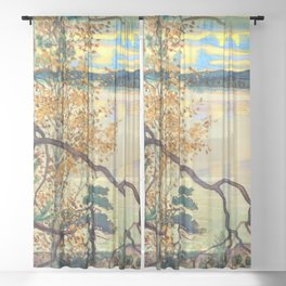 13,000px,500dpi-Akseli Gallen-Kallela - A lake view with stamp and inscription - Digital Remastered Edition Sheer Curtain
