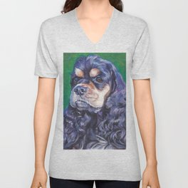 Cocker Spaniel dog art portrait from an original painting by L.A.Shepard Unisex V-Neck