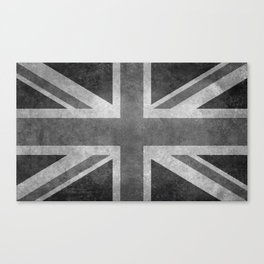 Union Jack Vintage 3:5 Version in grayscale Canvas Print