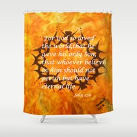 religious Shower Curtains featuring John 3:16 Religious Abstract Art by Saribelle Rodriguez  by Saribelle Inspirational Art