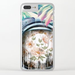 Floral Astronaut Clear iPhone Case