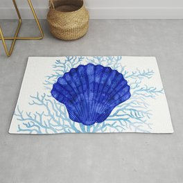 Seashell on coral - watercolors Rug