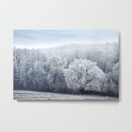Foggy Winter Landscape with snow covered Trees Metal Print