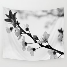 Black A White Blossoms Wall Tapestry