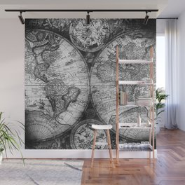 World Map Antique Vintage Black and White Wall Mural