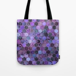 Purple geometric hexagonal elegant & luxury pattern Tote Bag