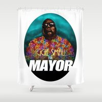 biggie smalls Shower Curtains featuring Biggie Smalls for Mayor by Tom Brodie-Browne