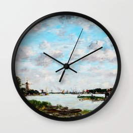 Eugene Louis Boudin - The Meuse near Dordrecht - Digital Remastered Edition Wall Clock