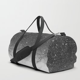 Stylish faux black glitter ombre white marble pattern Duffle Bag