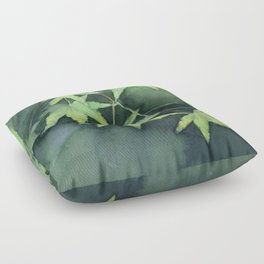 Japanese Maple Watercolor Green Leaves Tree Branch Nature Floor Pillow