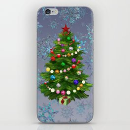 Christmas tree & snow v.2 iPhone Skin