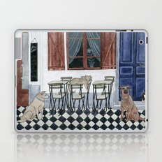 Sidewalk restaurant with blue doors Laptop & iPad Skin