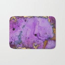Purple Ink Gold Glitter Marble Bath Mat