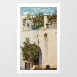 John William Waterhouse - Lady on a Balcony, Capri Art Print