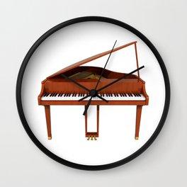 Grand Piano with Wood Finish Wall Clock