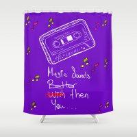 cassette Shower Curtains featuring Cassette by Melis Kalpakçıoğlu