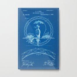 1885 One Wheel Velocipede Patent - Blueprint Style Metal Print