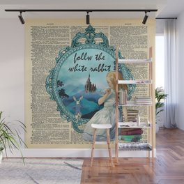 Follow The White Rabbit - Vintage Dictionary page Wall Mural