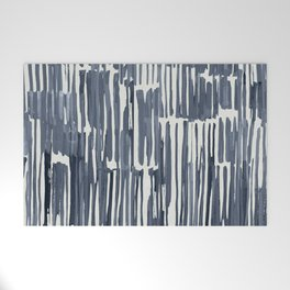 Simply Bamboo Brushstroke Indigo Blue on Lunar Gray Welcome Mat
