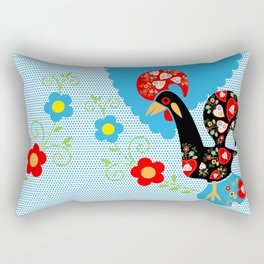 Portuguese Rooster of Luck with blue dots Rectangular Pillow
