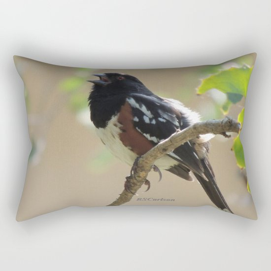 Spotted Towhee Scopes the Oak Grove Rectangular Pillow