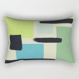 Four Rectangle Friends - Green and Blue Rectangular Pillow