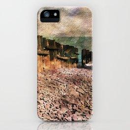 Sea Defence Groynes - watercolour effect. iPhone Case