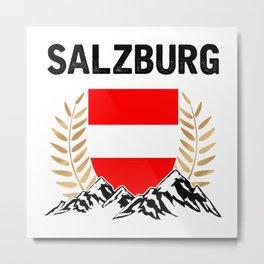 Salzburg Austria Alps TShirt Austria Flag Shirt Austrian Alps Gift Idea  Metal Print