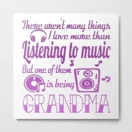 Listening To Music Grandma Metal Print