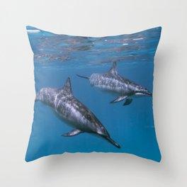 Dolphin swim by Throw Pillow