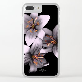 Black and White Ant Lilies Flower Scanography Clear iPhone Case
