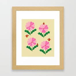 Spring Lady Bugs and Pink Flowers Framed Art Print