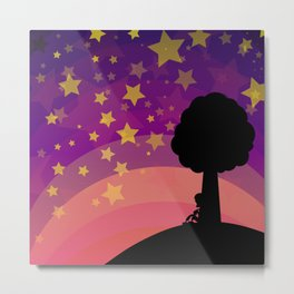 Kid looking to the sky in the late evening Metal Print