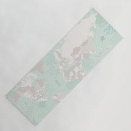 """World map with coral, seaweed and marine creatures, """"Lenore"""" Yoga Mat"""