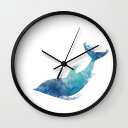 Watercolor playing Dolphin Wall Clock