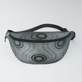 PPG Night Watch (Pewter Green), Bold Circle Rings & Wavy Line Pattern Fanny Pack