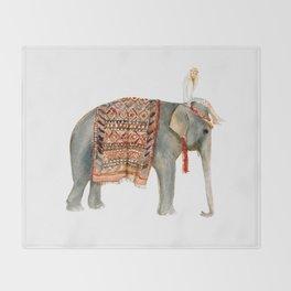 Riding Elephant Throw Blanket