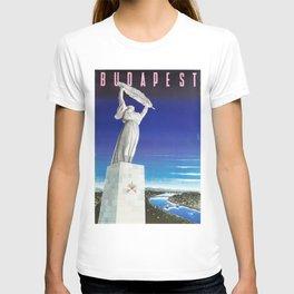 Budapest, Hungary, Gellért Hill, Liberty Statue, vintage poster T-shirt