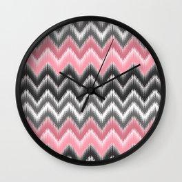 Modern blush pink black geometrical ikat chevron Wall Clock