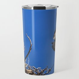 An Osprey Flies Out Of The Nest Travel Mug