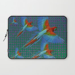 BLACK-TEAL SHABBY CHIC TROPICAL BLUE MACAWS Laptop Sleeve